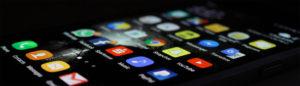 scherm met social media en app icons